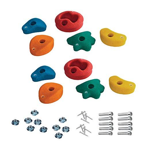 10 Stück h2i Klettersteine Klettergriffe für Kletterwand - klein - 8,6 x 8,6 cm für Kinder und Erwachsene