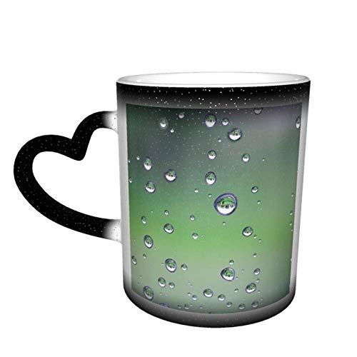 Taza de cerámica sensible al calor que cambia de color, gota de agua, cielo estrellado, taza que cambia de color, sorpresa de cumpleaños para niños y niñas, 11oz-O6