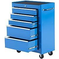 Carro Caja de Herramientas Taller Movil 5 Cajones 4 Ruedas Cerradura Color Azul