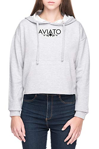 Vendax Aviato Damen Bauchfreies Crop Kapuzenpullover Sweatshirt Grau Women's Crop Hoodie Grey