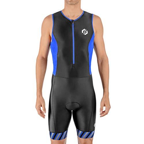 SLS3 - Tuta per triathlon da uomo, body da triathlon, disegnato da atleti per atleti, Righe Nero/Blu, X-Large