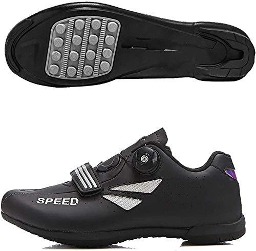 KUXUAN Calzado De Ciclismo para Hombre Sin Candado Invierno Calzado Deportivo De Montaña Y Carretera para Hombre Y Mujer Calzado De Refuerzo para Bicicleta,Black-44EU