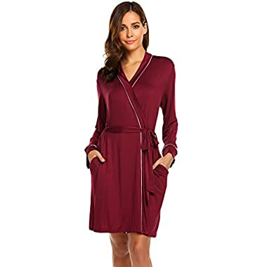 Avidlove Womens Robe Kimono Knit Cotton Light Short Bridesmaids Spa Bathrobe,Wine Red,Small