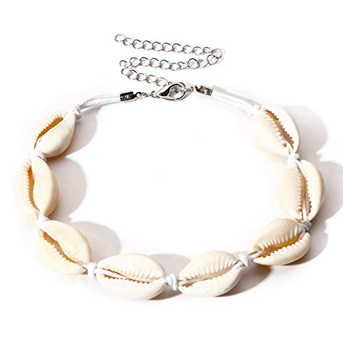 PULABO Natural Beads Shell Anklet Bracelet Handmade Beach Foot Jewelry Hawaiian Style Adjustable for Women Comfortable and Environmentally