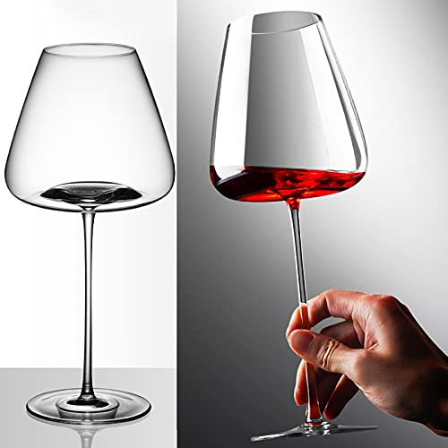 PPuujia Juego de 2 copas de vino de color burdeos de gran capacidad, 700 ml, 900 ml