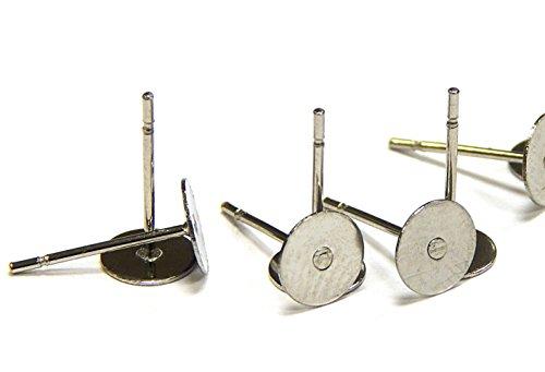Perlin - 100 Ohrstecker Ohrhaken Ohrring Fassung für 8mm Cabochon Edelstahl 304 Rund M124 x2