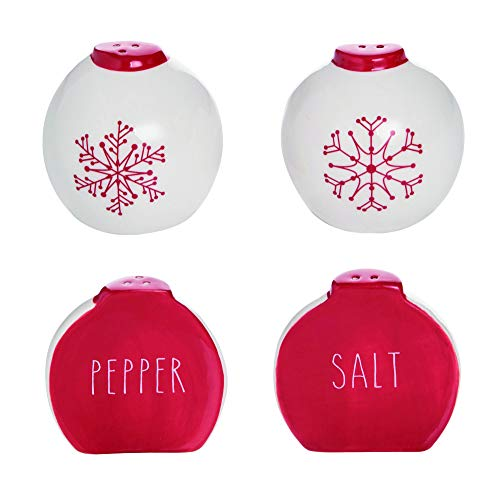 Snowflake Rosy Red 3 x 2 Dolomite Ceramic Christmas Salt and Pepper Shaker Set