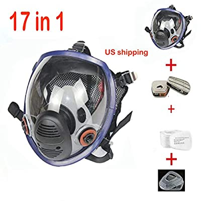 17in 1 Full Face Respirator Widely Used in Organic Gas,Paint Sprayer, Chemical,Woodworking,Dust Protector by Auwod