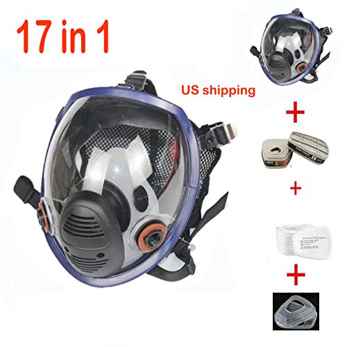 17in 1 Full Face Respirator Widely Used in Organic Gas,Paint Sprayer, Chemical,Woodworking,Dust Protector