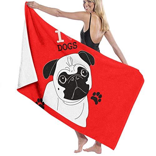 Toallas de Playa Not Today Pug Dog Emoji Toallas de baño para niñas Adolescentes Adultos Toalla de Viaje Toalla 31x51 Pulgadas