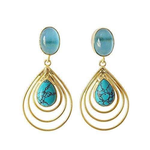Handmade Turquoise And Blue Quartz Gemstone Dangle Earrings For Women