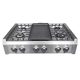 Cosmo Professional Style Slide-In Gas Cooktop in Stainless Steel -36 in 8 Heavy-duty cast iron grates and easy to clean heavy-duty stainless steel body Includes a griddle pan Works with natural gas and propane (conversion kit installation required)