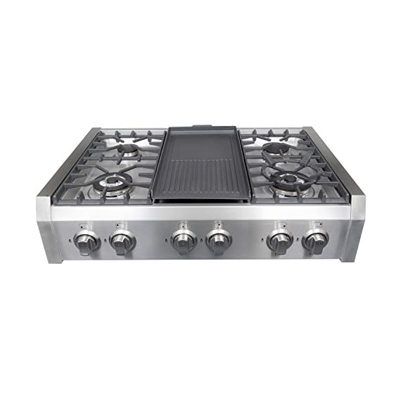 Cosmo Professional Style Slide-In Gas Cooktop in Stainless Steel -36 in 1 Heavy-duty cast iron grates and easy to clean heavy-duty stainless steel body Includes a griddle pan Works with natural gas and propane (conversion kit installation required)