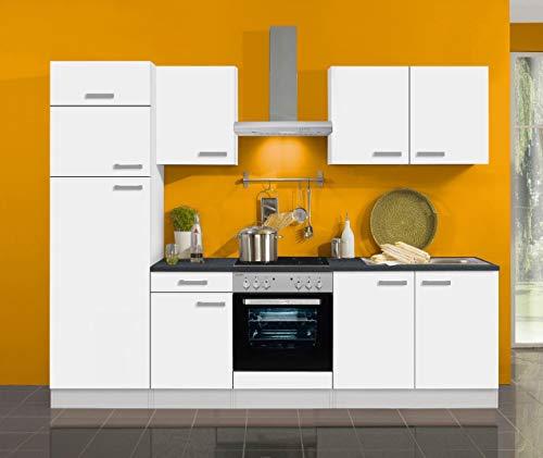 idealShopping Oslo - Bloque de cocina (270 cm, vitrocerámica y frío), color blanco mate