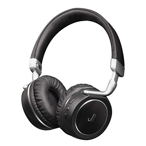 JAZ Cuffie Stereo Wireless Samba, Pieghevoli con Tasti Multifunzione, Microfono Integrato, ingressi AUX e Micro USB, modalità Risparmio energetico, Finitura in Metallo