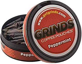 Grinds Coffee Pouches   3 Cans of Peppermint   Tobacco Free, Nicotine Free Healthy Alternative   18 Pouches Per Can   1 Po...
