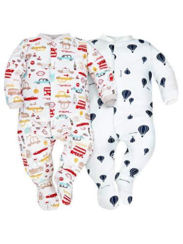 Sibinulo Niño Niña Pijama Bebé Pelele de Algodón Pack de 2 Autos y Globos 68(3-6 Meses)