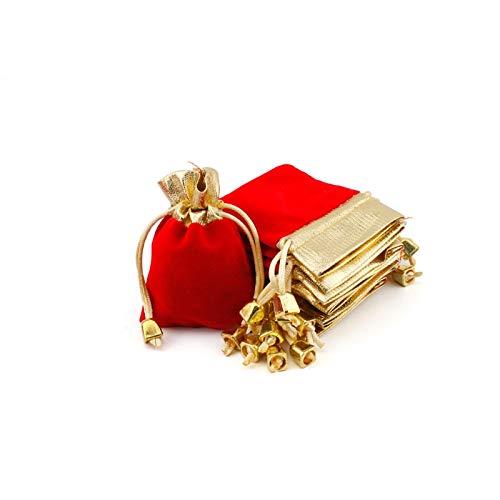 7つのギフト巾着袋のパッククリスマスウェディングギフトバッグのための黄金の音色トリム柔らかい布、ジュエリーキャンディバッグ、レッド,S