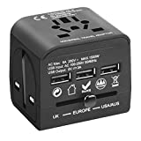 Universal Travel Adapter with 3 USB Ports, Travel Plug Adapter EU/UK/AU to USA, International Plug Adapter