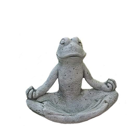 Steinfigur Yoga Frosch groß Vogeltränke Vogelbad Tierfigur Steinguss Frostfrei