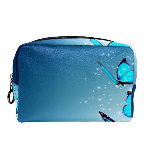 Bolsa de cosméticos Bolsa de Maquillaje para Mujer para Viajar para Llevar cosméticos, Cambio, Llaves, etc. Art Blue Butterfly Agua