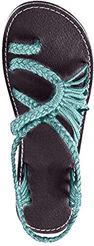 Damen Geflochtene Sandalen Sommer Gladiator Schuhe Casual Flachen Flip Flops Strand Zehentrenner Sandalen Y Hellgrün EU 38