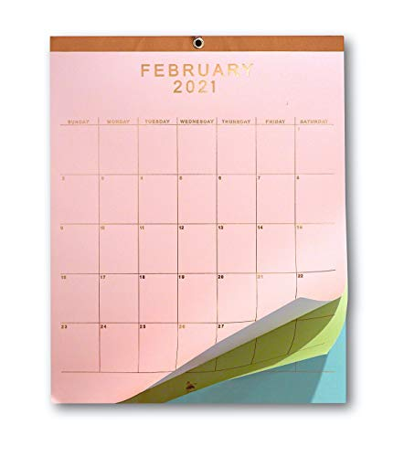 2021 Wall Calendar - 12' x 15' Rose Gold Foil Lettering Monthly Planning Hanging Peel Off Large Print Wall/Desk Calendar on Multi-Color Paper - January 2021 to December 2021