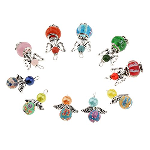 Harilla 10 Pieces Delicate Silver Angel Butterfly Drops Round Beads Pendants