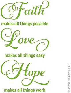Faith Love Hope Quote Vinyl Wall Decal Sticker Art, Words Home Decor, Mural, Lime Green