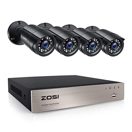 ZOSI 1080P 8CH Sistema di videosorveglianza, Telecamere da Esterno 1080P da 4 Pezzi Con DVR a 8 Canali H.265 +, Nessun Dsco Rigido, Kit di Allarme di Movimento, Accesso Mobile Remoto