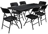AMANKA Ensemble de Meubles de Jardin - Table de 180 cm avec 6 chaises - Pliable Aspect Rotin Noir