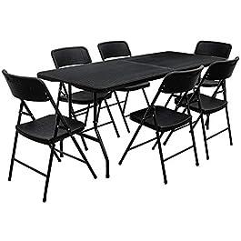 AMANKA Ensemble de Meubles de Jardin – Table de 180 cm avec 6 chaises – Pliable Aspect Rotin Noir