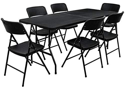 AMANKA Juego de Muebles de Jardín - Mesa 180 cm con 6 Sillas Grupo de Asientos Plegables Look Ratán