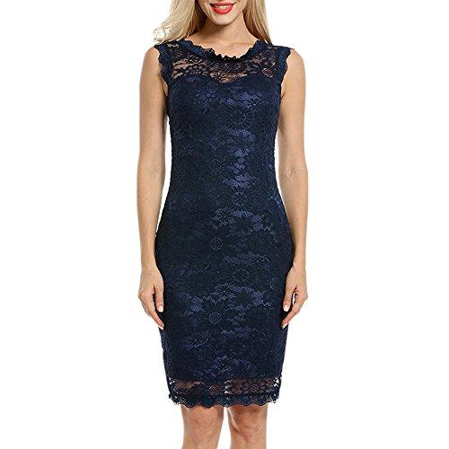 JERFER Spitzenkleid Damen Arbeitskleidung Kleid Ärmellos Rücken mit V-Ausschnitt Schlank Party Kleid