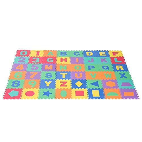 HOMCOM 48 Piezas Alfombra Puzzle para Niños de 31x31x1cm con 26 Letras Números 0 al 9 y 12 Tipos de Fuguras Geométricas Colchoneta Suave 4,32 m² de Espuma EVA