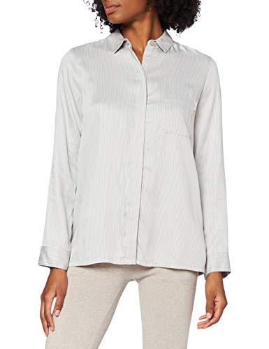 Calvin Klein L/S Button Down Camiseta de Pijama, Líneas paralelas_Gaze, L para Mujer
