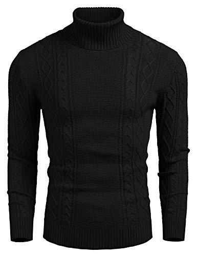 COOFANDY Men's Slim fit Turtleneck Sweater Casual Cable Knitted Pullover Sweaters Black