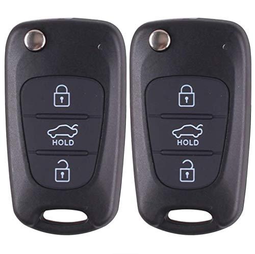 Kelay Schlüsselanhänger-Gehäuse mit 3 Tasten, kompatibel mit Hyundai i20 i30 i35 ix20 ix35 Klapp-Fernbedienung Autoschlüssel Zubehör (2 Stück)