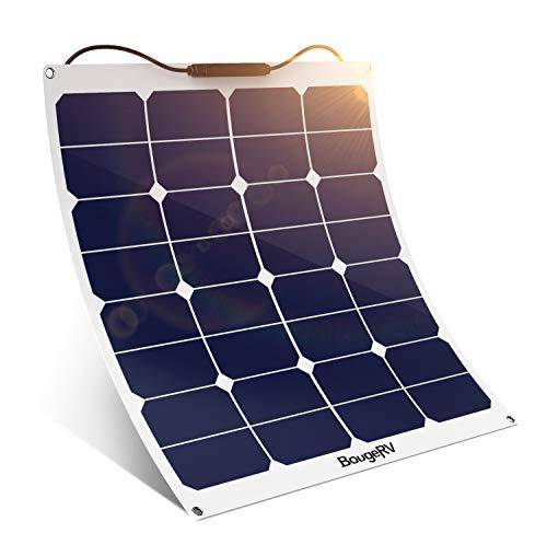 BougeRV Solarmodul, 50 W, 18 V, 12 V, flexibles Solarlademodul mit MC4 für Wohnmobil, Boot, Kabine, Zelt, Auto, Anhänger etc.