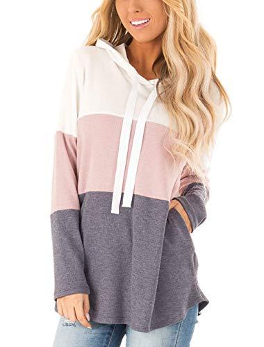 Lantch Damen Hoodies Farbblock Sweatshirt Gestreifte Pullover Casual Kapuzenpullover Langarm Shirts Kordelzug Oberteil mit Taschen(PK-L)
