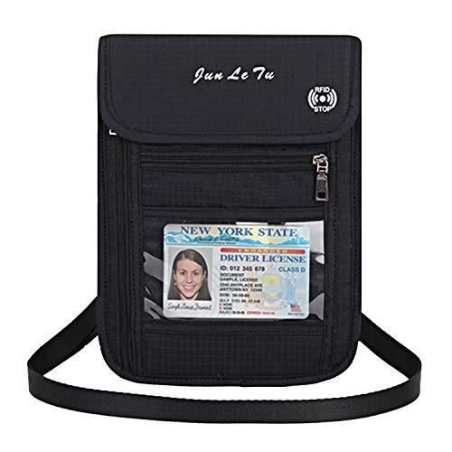 パスポートケース 首下げRFID【スキミング防止】パスポートバッグ 軽量 防水 海外旅行グッズ 防犯対策 首ひも調節可能 航空券対応 スマホ収納可 貴重品入れ クラッチバッグ トラベルポーチ 男女兼用 ブラック