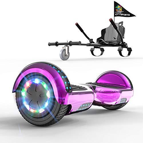 "GeekMe Patinete Eléctrico 6.5"" con Hoverkart Self Balance Scooter Las Ruedas LED Luces, Scooter eléctrico con Bluetooth Dual Motor 700W"