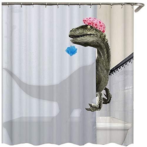 Binchil Sch?ee - Cortina de ducha con impresión de dinosaurios, resistente al agua, cortina de ducha, accesorios, 180 x 180 cm