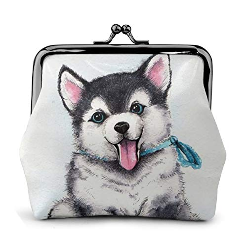 Husky Painting cute Dog Named Baby Vintage Pouch Girl Kiss-lock Change Purse Wallets Buckle Leather Coin Purses Key Woman Printed