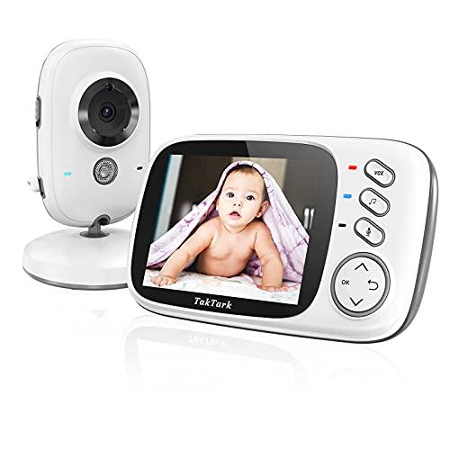 Vigilabebes con Camara Inalámbrico Monitor para Bebés Camara Vigilancia Bebe Inteligente con LCD 3.2'' y Cámara Visión Nocturna, Función de Vigilancia de la Temperatura