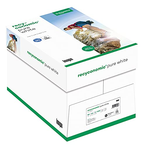inapa Recycling-Papier, Druckerpapier Recyconomic PureWhite 80 g/qm DIN-A4, 5x500 Blatt, ungestrichen, matt, weiß