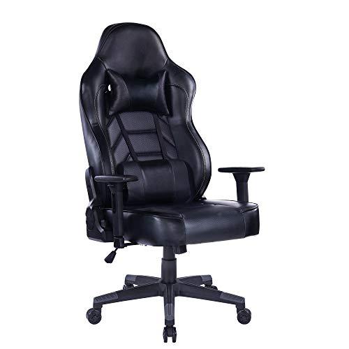 Wolmic Racing Style Gaming Stuhl Höhe Rücken Ergonomischer Computertisch Leder Bürostuhl mit Verstellbarer und gepolsterter Kopfstütze 170 kg Max