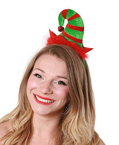 MINI ELF HAT ON HEADBAND FOR ADULTS - GREEN AND RED STRIPED MINI ELF HAT - LADIES XMAS FANCY DRESS ACCESSORY SEXY CHEEKY ELF SANTA'S LITTLE HELPER - ONE SIZE