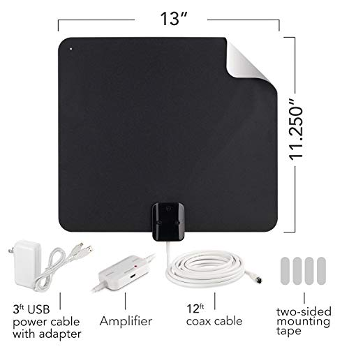 RCA Indoor TV Antenna - Amplified Antenna Digital HD - Thin Film Reversible Antenna with HDTV Multi-Directional VHF and UHF Reception and a 65 Mile Range - AZON009