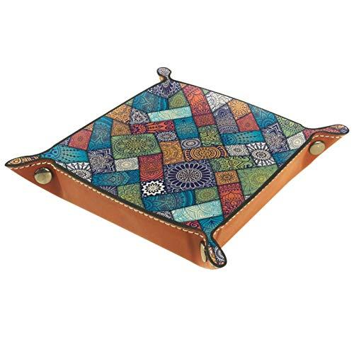 rodde Bandeja de Valet Cuero para Hombres - Patrón étnico Floral Diagonal Colorido - Caja de Almacenamiento Escritorio o Aparador Organizador,Captura para Llaves,Teléfono,Billetera,Moneda